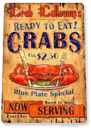 tin sign b200 serving crab rustic seafood restaurant sign kitchen cottage farm tinworld tinsign_com