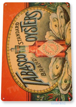 tin sign b203 tabasco hot sauce oysters rustic sign kitchen cottage farm tinworld tinsign_com