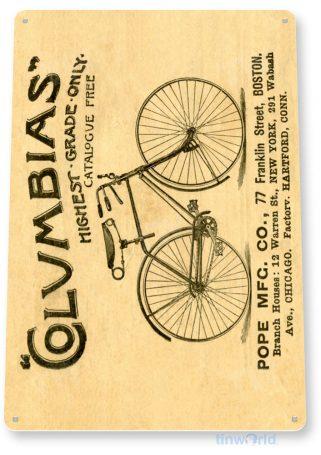 tin sign b223 columbias bicycles retro bike shop sign cottage farm cave tinworld tinsign_com