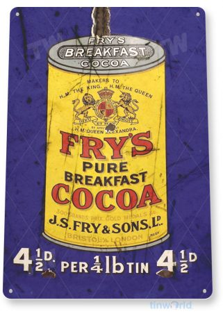 tin sign b229 frys breakfast retro rustic cocoa chocolate sign kitchen cottage farm tinworld tinsign_com