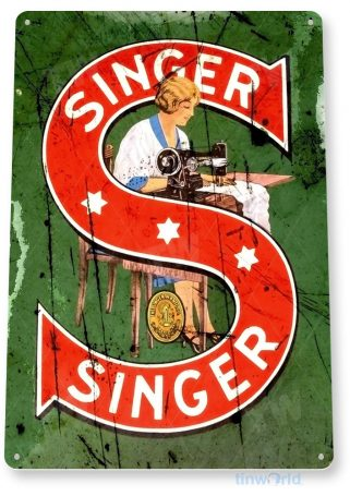 tin sign b247 singer sewing machine retro rustic store sign kitchen cottage farm tinworld tinsign_com