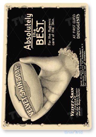 tin sign b259 velvet skin soap retro advertisement sign kitchen cottage cave tinworld tinsign_com