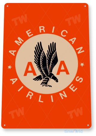 tin sign b265 american airlines retro commercial airlines aviation airport sign hangar cave tinworld tinsign_com