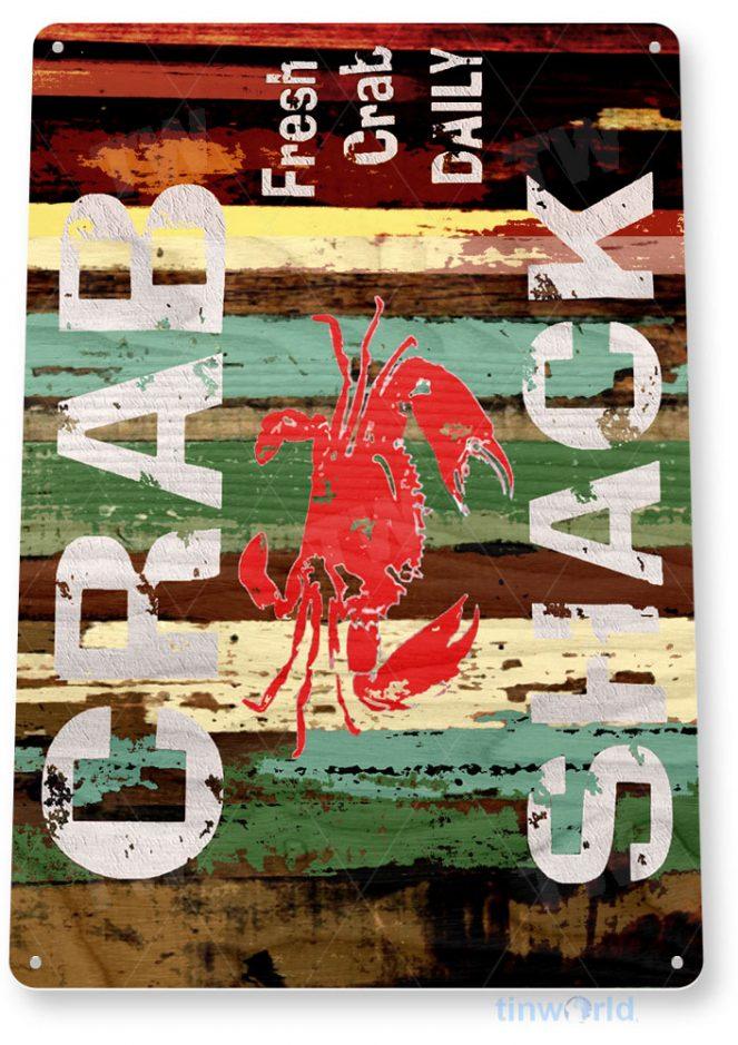 tin sign b268 crab shack rustic restaurant bar sign seafood kitchen cottage farm tinworld tinsign_com