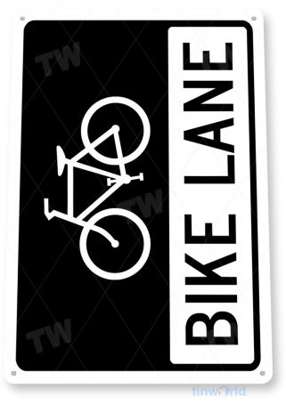 tin sign b278 bike lane bicycle shop sign garage cave bike rack tinworld tinsign_com
