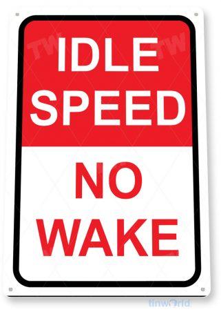 tin sign b283 no wake boats boating fishing marina beach lake house sign tinworld tinsign_com