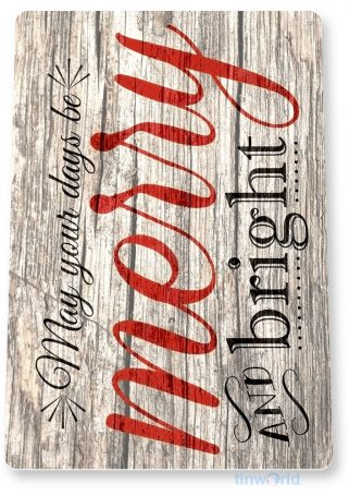 tin sign b286 merry and bright rustic christmas decor sign kitchen cottage farm tinworld tinsign_com