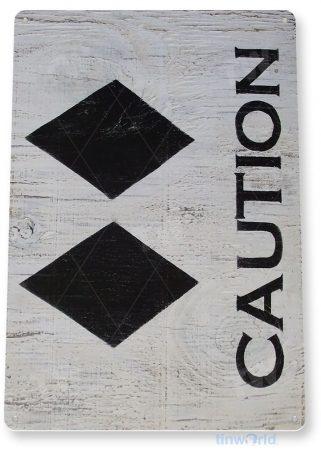 tin sign b290 caution double diamond ski slope sign lift resort cabin cave tinworld tinsign_com