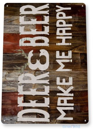 tin sign b293 deer beer rustic hunting outdoors cabin cottage farm ranch cave tinworld tinsign_com