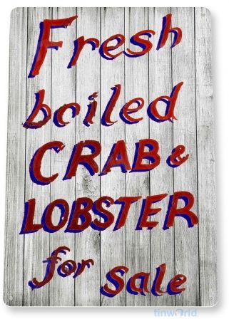 tin sign b295 crab lobster rustic seafood kitchen cottage beach house restaurant sign tinworld tinsign_com