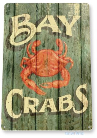 tin sign b296 bay crabs rustic seafood kitchen cottage beach house restaurant rustic tinworld tinsign_com