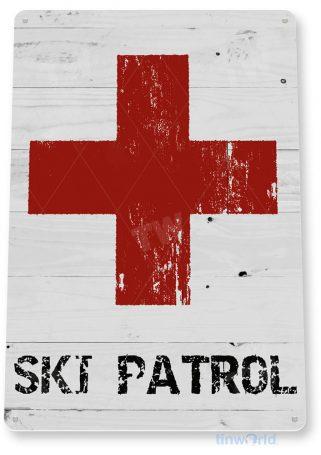tin sign b308 ski patrol rustic ski resort sign slopes lift cabin cottage cave tinworld tinsign_com