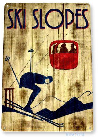 tin sign b309 ski slopes rustic ski resort sign slopes lift cabin cottage cave tinworld tinsign_com
