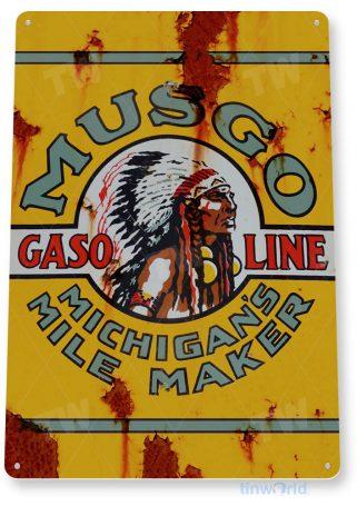 tin sign b314 musgo gasoline michigan rustic oil gas station sign garage auto shop cave tinworld tinsign_com