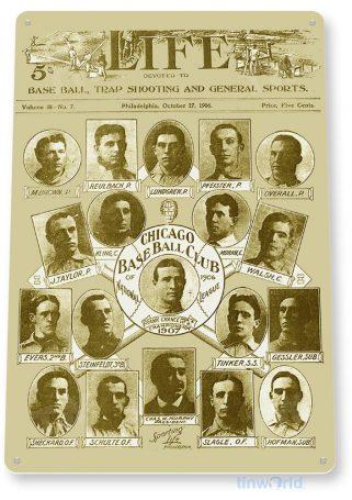 tin sign b333 1907 chicago cubs world champions historic baseball photo tinworld tinsign_com