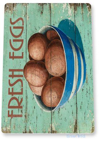 tin sign b353 fresh eggs rustic farm sign bowl kitchen cottage tinworld tinsign_com