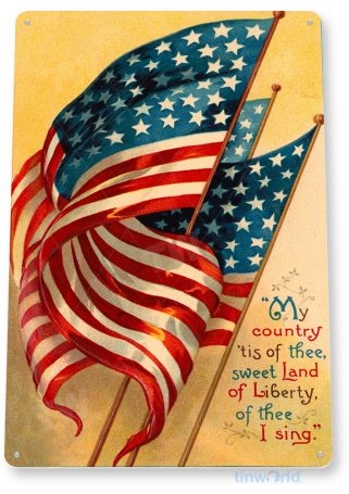 tin sign b364 my country flag rustic patriotic america kitchen cottage farm tinworld tinsign_com