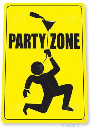 tin sign b371 party zone college fraternity sorority house sign bar pub cave tinworld tinsign_com