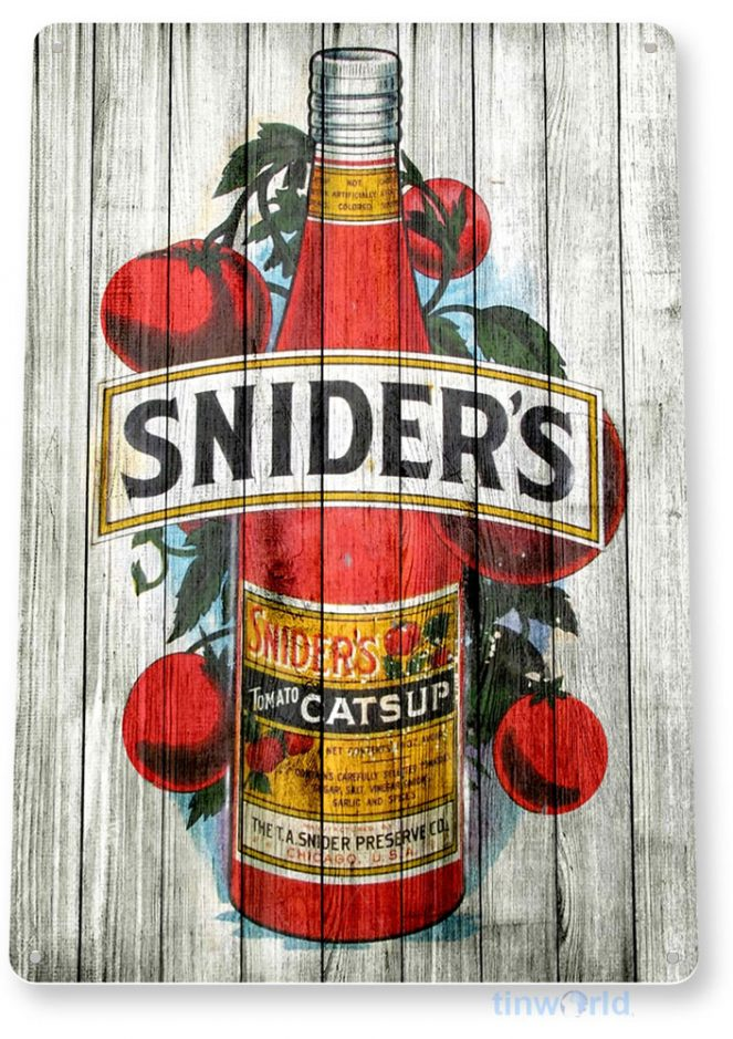 tin sign b382 sniders catsup rustic store sign kitchen cottage cave tinworld tinsign_com
