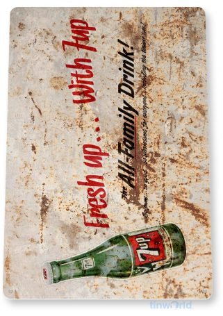 tin sign b385 7-up fresh up rustic bottle soda sign kitchen cottage farm tinworld tinsign_com