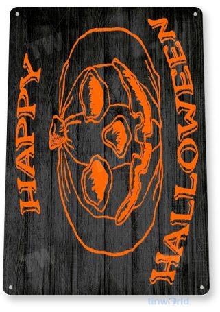 tin sign b438 happy halloween rustic holiday pumpkin sign kitchen cottage farm tinworld tinsign_com
