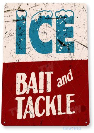 tin sign b439 ice bait tackle rustic retro fish fishing tackle sign marina lake beach house cottage cabin tinworld tinsign_com