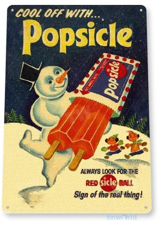 tin sign b442 popsicle snow man retro ice cream store sign parlor cafe restaurant kitchen cottage tinworld tinsign_com