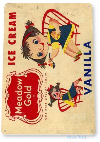 tin sign b450 meadow gold vanilla ice cream parlor cafe restaurant kitchen cottage retro tinworld tinsign_com