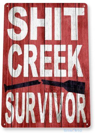 tin sign b453 creek survivor rustic paddle beach lake house cabin cottage sign tinworld tinsign_com