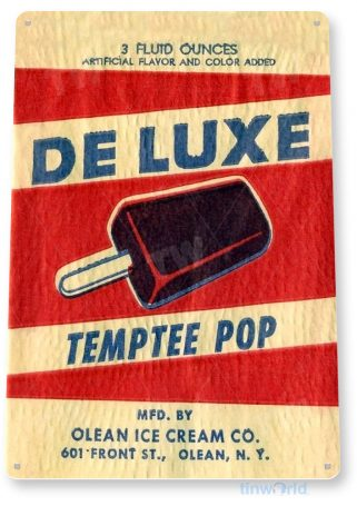 tin sign b466 de luxe temptee pop retro ice cream store sign parlor cafe kitchen cottage tinworld tinsign_com