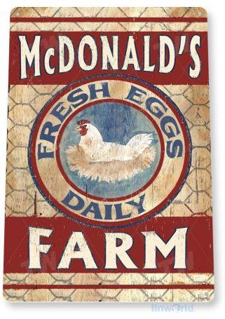 tin sign b468 fresh eggs mcdonald rustic farm sign kitchen cottage farm coop tinworld tinsign_com