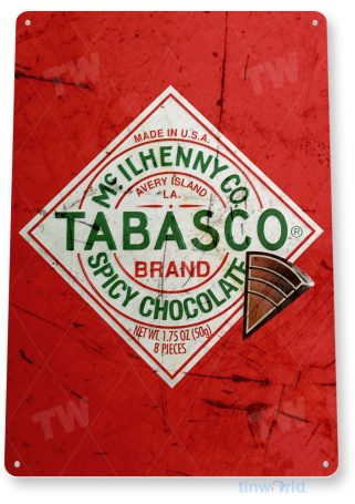 tin sign b469 tobasco spicy chocolate rustic hot sauce sign kitchen cottage farm tinworld tinsign_com