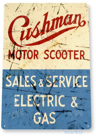 tin sign b489 cushman scooter retro rustic service sign motorcycle shop moped bike tinworld tinsign_com