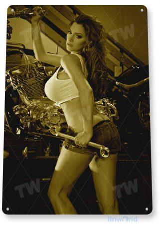 tin sign b495 fine tuning hot rod pin-up girl motorcycle garage auto shop cave tinworld tinsign_com