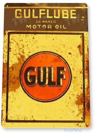 tin sign b500 gulflube motor oil retro rustic gas station sign garage auto shop cave tinworld tinsign_com