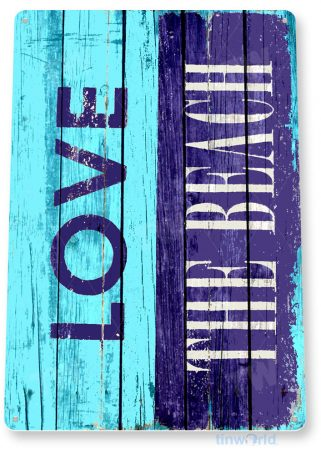 tin sign b507 love the beach rustic lake beach house cottage cabin cave tinworld tinsign_com