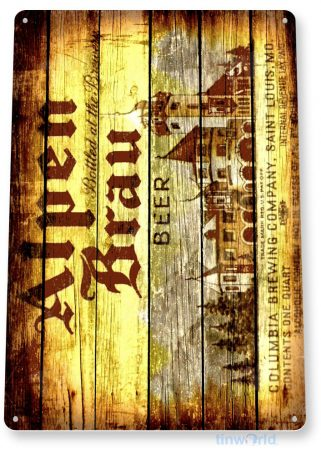 tin sign b546 alpen brau beer rustic retro bar pub beer brewery sign cottage cave tinworld tinsign_com