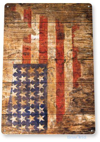 tin sign b547 american flag rustic postal stamp patriotic flag cottage cave tinworld tinsign_com