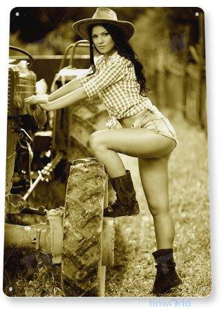 tin sign b552 brushhog pin-up girl farm cowgirl tractor farm barn cave tinworld tinsign_com