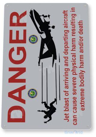 tin sign b558 danger jet blast jet aviation airport warning caution sign hangar garage cave tinworld tinsign_com