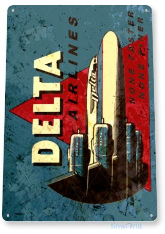 tin sign b559 delta airlines retro rustic commercial aviation airliner airport sign hangar garage tinworld tinsign_com