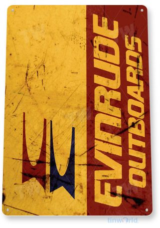 tin sign b562 evinrude outboards rustic retro boating fishing marina engine sign garage cave tinworld tinsign_com
