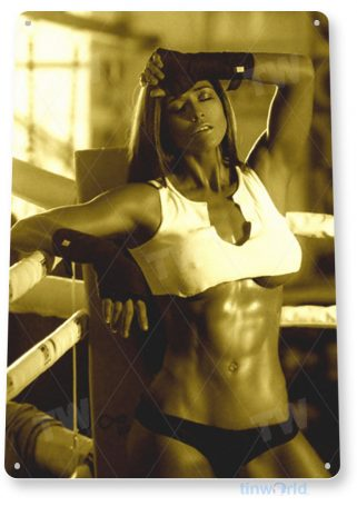 tin sign b573 knockout boxing ring sports pin-up girl gym mma fitness cave tinworld tinsign_com