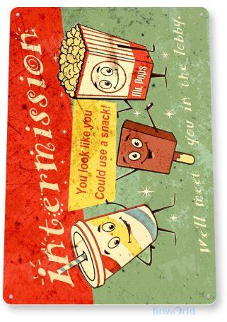 tin sign b577 movie snacks retro rustic movie popcorn ice cream soda home theater sign tinworld tinsign_com