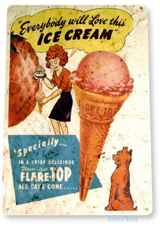 tin sign b609 flare top rustic retro ice cream parlor sign kitchen cottage tinworld tinsign_com