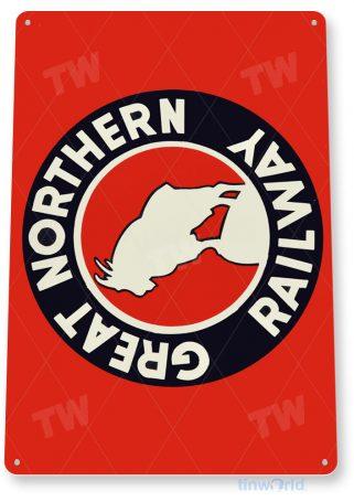 tin sign b616 great northern railway retro railroad train station sign tinworld tinsign_com