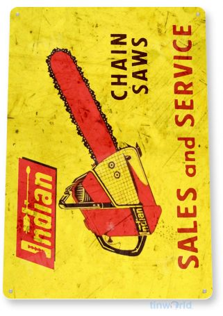 tin sign b625 indian chain saws tools equipment garage shop rustic tinworld tinsign_com