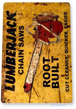 tin sign b632 lumberjack chain saws rustic retro tools equipment shop sign garage cave tinworld tinsign_com
