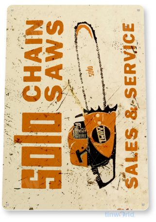 tin sign b645 solo chain saws rustic retro tools equipment shop sign garage cave tinworld tinsign_com