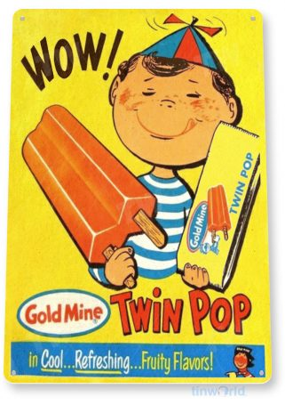 tin sign b649 wow twin pop rustic retro ice cream popsicle parlor sign kitchen cottage tinworld tinsign_com